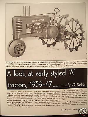 John Deere Early Styled Model A tractor 1939 - 1947, Cotton Harvesters 1930-1990