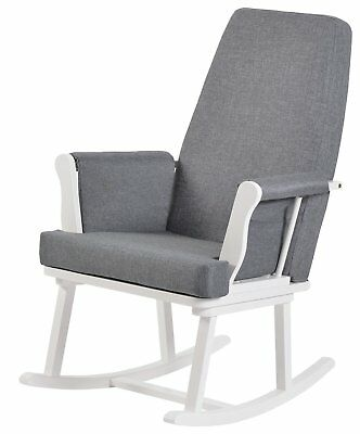 KUB Haldon Solid Wood Rocking Chair - White/Grey.