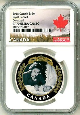 2018 Canada S$20 Royal Portrait Colorized NGC PF70 Ultra Cameo Box & OGP