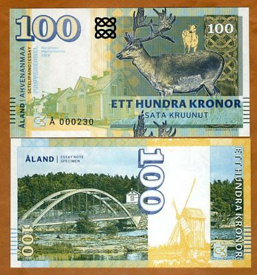 Aland Islands, 100 Kronor, 2018, Private Issue, Specimen, Essay UNC > Deer