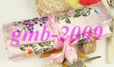Exquisite Chinese Handmade Embroidery Flower Silk Jewelry Cosmetic Bag/Roll Pink