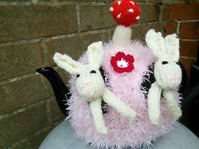 Hand Knitted Bunnies Tea Cosy/cozy/cosies/cozies.medium Pot. Brand New.