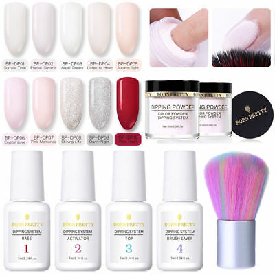 5Pcs/Set Nail Art Dip Dipping System Powder Liquid Top Base Coat No Lamp Needed