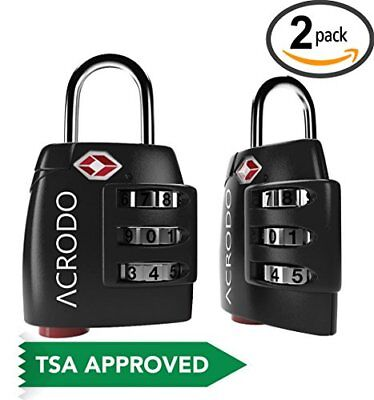 Luggage Locks TSA Approved 2 Pack - Steel Travel Padlocks for Suitcases & with