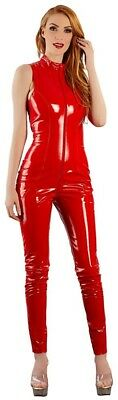 Combinaison Vinyle Rouge avec Fermeture Eclair Pvc Red Catsuit Black Level
