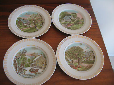 Set 4 Four Seasons Plates Currier & Ives Excon