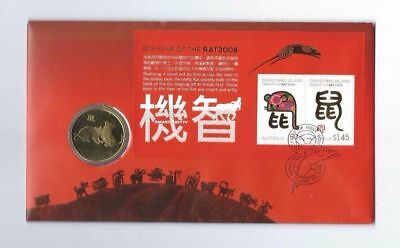2008 Christmas Island Lunar Year Coin PNC/FDC - Year of Rat