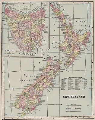 1899 Antique NEW ZEALAND Map   Vintage Collectible 1800s Map of New Zealand 5766