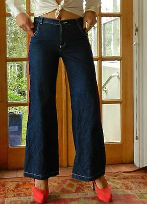 VINTAGE RED Rusty Experimental Denim Rock Chic Pink Piping Groovy Flared Jeans