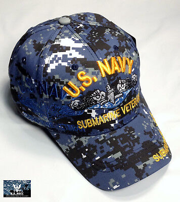 be5569c80 US Navy Submarine VETERAN Ball Cap Sub Service NWU Hat SHADOW BLUE Digital  Camo