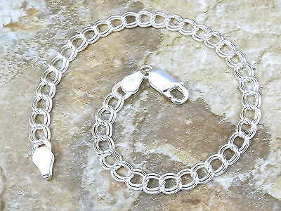 """Sterling Silver 8"""" Double Link Traditional CHARM BRACELET - 1154"""