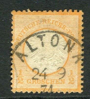 GERMANY; 1872 early classic Shield issue used 1/2g. value, POSTMARK