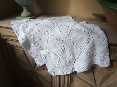Rare!! 2 Antique Pillowcases Crochet South French Knitted Crocheted As Bedspread