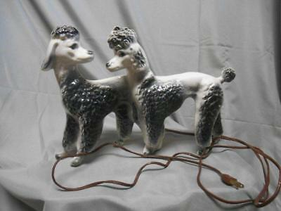 Vintage 1956 Lane & Co. ceramic black white poodle couple TV lamp excellent