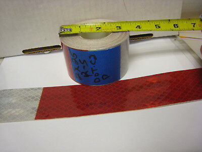 "3M BRAND  2"" x25'  Roll SILVER & RED  PRISMATIC REFLECTIVE  TAPE 7-11 DOT-C2"
