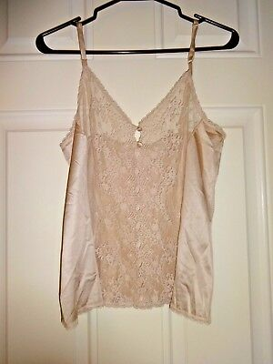 Vanity Fair Cami Camisole Taupe Front Lace Trimmed Size 36 USA Gorgeous! Vintage