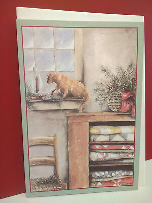 Christmas Greeting Card Cat in Window Candle Country Quilts Amelia Rockwell 1988