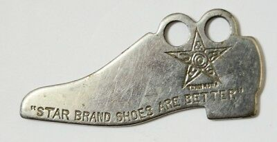 Vtg Antique STAR BRAND SHOES are better Shoe Shaped Watch Fob Key chain