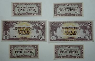 Lot Of 6 Japanese Ww2 Occupation Banknotes - High Grade