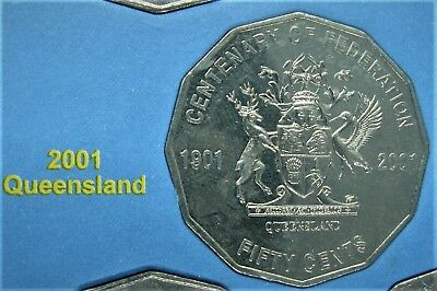 *2001 QUEENSLAND 50 cent UNCIRCIRCULATED. Centenary of Federation coin from set!