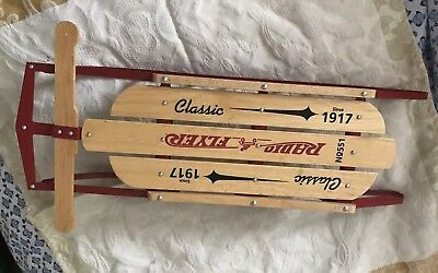 """VINTAGE Wooden Snow Sledge Flexible RADIO FLYER 16"""" Long Sled GREAT Decoration"""