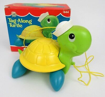 Vintage 1977 Fisher-Price Tag Along Turtle Pull Toy in Original Box 644