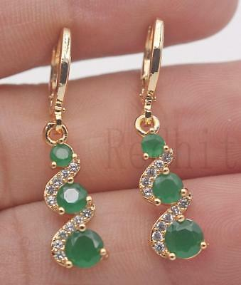 18K Gold Filled -  1.2'' Swirl Round Emerald Jade Topaz Cocktail Dangle Earrings
