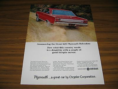 1966 Print Ad The '66 Plymouth Belvedere with HEMI 426 V-8