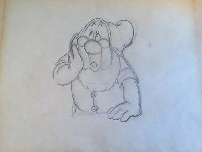 1937 Original Production Art Of Doc From Disney's Snow White With Pedigree