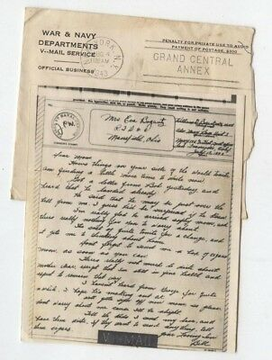 1943 V-MAIL Letter US Navy Air Force World War II BILL BOGANTZ Mansfield Ohio !