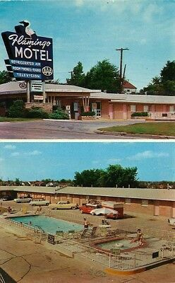 Route 66 Roadside Postcard Flamingo Motel, Tulsa, Oklahoma - used in 1958