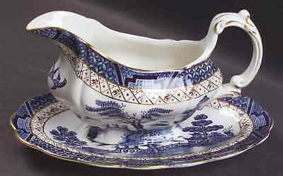 Booths REAL OLD WILLOW BLUE Gravy Boat & Underplate 38701