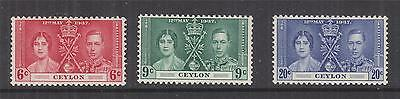 CEYLON, 1937 Coronation set of 3, lhm.