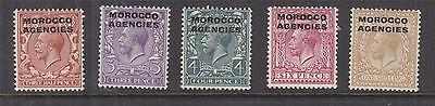 MOROCCO AGENCIES, 1914 KGV, Simple Cypher, 1 1/2d., 3d., 4d., 6d. & 1s., lhm.