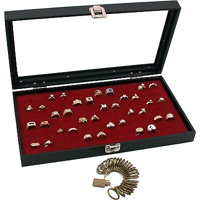 Glass Top Jewelry Red 72 Ring Display Case Box Bonus