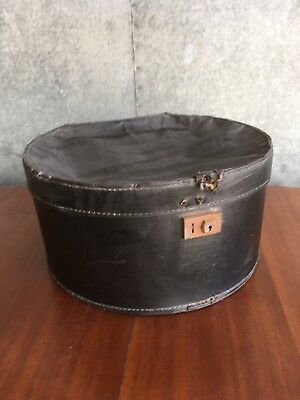 Vintage Very Old Round Black Hat Box - has seen better days Storage Display