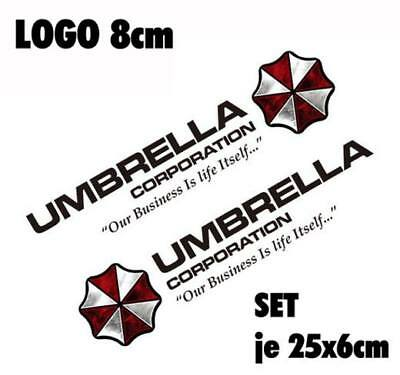 Resident Evil Umbrella Corporation Sticker Auto Aufkleber SET Car schwarz 35cm
