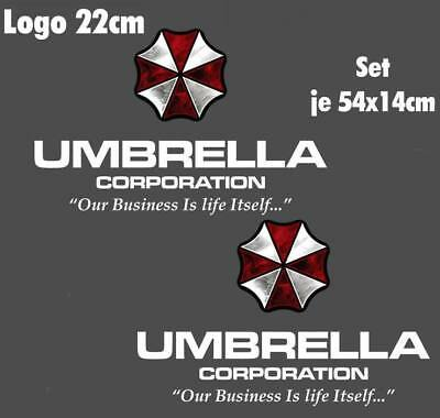 Resident Evil Umbrella Corporation Sticker Auto Aufkleber SET Car silber weiß 55