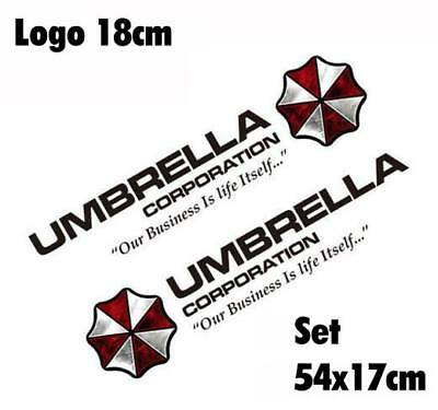 Resident Evil Umbrella Corporation Sticker Auto Aufkleber SET Car schwarz 75cm