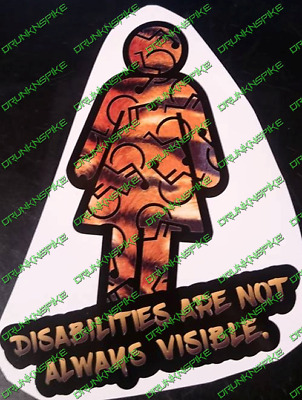 Woman Disabled Disabilities  Are Not Always Visible Tiger Car Sticker  Mobility