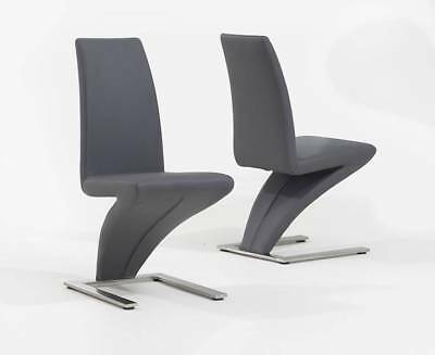 Grey Leather Z Furniture Dining Chairs Set of 2