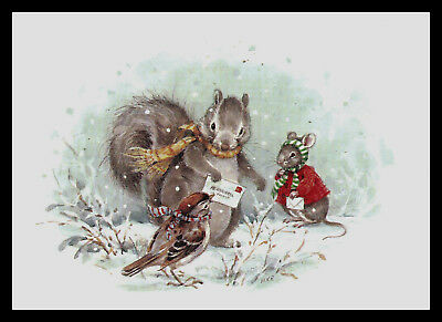 981-JPM BIRD MOUSE SPARROW SQUIRREL Christmas Greeting Card VINTAGE