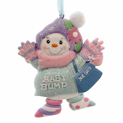 Personalized Ornament BABY BUMP SNOWMAN Polyresin Christmas Pregnant H5007