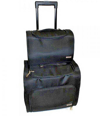 Haito DUO Hairdressers Barbers Beauty TROLLEY BAG - Pull Along Wheels - BLACK