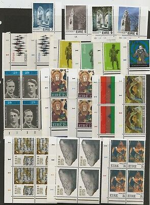 Plate numbers on 54 unmounted mint Irish stamps and blocks, pre-decimal to 1977