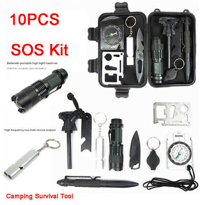 10pcs Camping Survival Tool Professional SOS Kit Outdoor Emergency Equipment Box