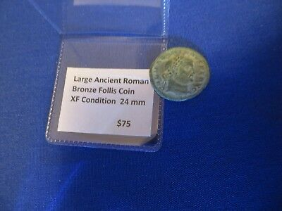 Large 24 mm Ancient Roman Bronze Follis Coin XF Free Shipping