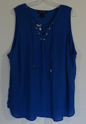 f2e17575f94 Ashley Stewart Grommet Lace Up Front Sleeveless Blouse Women s Size 22 24  NWT