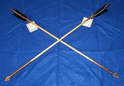 "Set of 2 Native American made Arrows 24"" Length Black Feathers Stone Arrowheads"