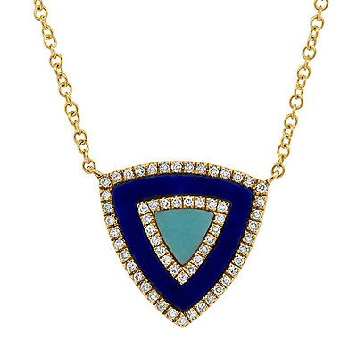 14K Yellow Gold Turquoise Lapis Lazuli And Diamond Triangle Pendant Necklace